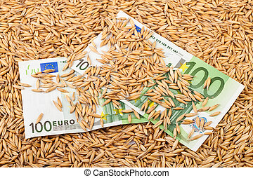 oats and euro banknotes