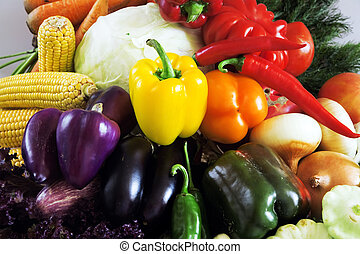 Crop of various vegetables as an agricultural background