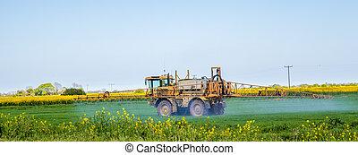 Crop spraying in a green field