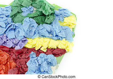cropped abstract image of green, orange, yellow and blue crumple color paper on card board isolated on white background