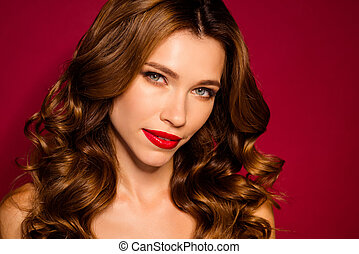Cropped close-up portrait of her she nice attractive charming lovely wavy-haired girl after laser peeling isolated on bright vivid shine vibrant red maroon burgundy marsala color background
