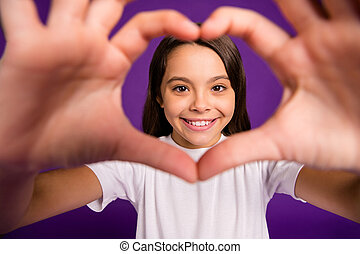 Cropped close-up portrait of her she nice attractive lovely cheerful cheery sweet cute girl showing heart symbol isolated on bright vivid shine vibrant purple violet lilac color background