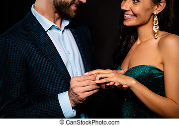 Cropped close-up portrait of his he her she nice gorgeous charming perfect attractive luxury cheerful two person soul mate making expensive propose best dream rich guy isolated over black background