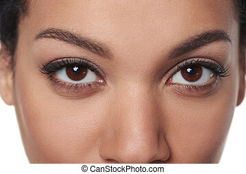 Cropped closeup image of female brown eyes - Cropped closeup...