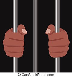 cropped illustration of a african american locked behind bars