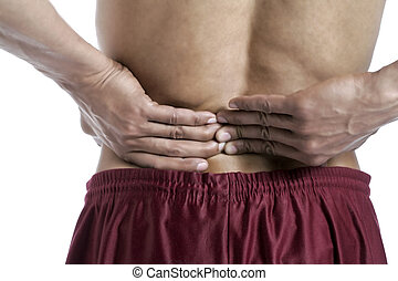 lower back pain - Cropped image of a man suffering lower ...