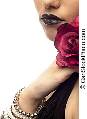 cropped image of a woman holding rose