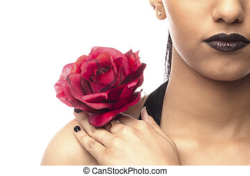 cropped image of a woman with rose