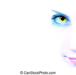 Cropped image of a woman's gaze on a white background