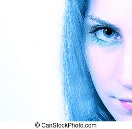 Cropped image of a woman's gaze