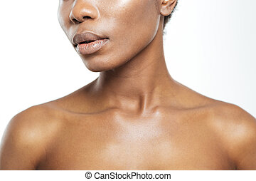 Cropped image of afro american woman on white background