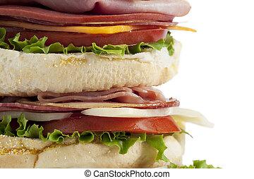 cropped image of big ham sandwich