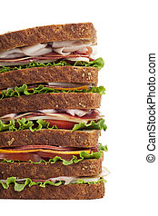 cropped image of giant ham sandwich