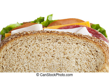 cropped image of ham sandwich