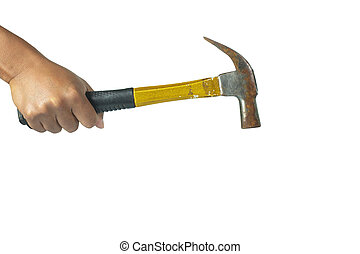 Cropped image of hand holding a hammer on white background