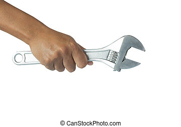 Cropped image of hand holding wrench on white background