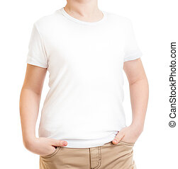 cropped model kid in t-shirt or tshirt isolated on white