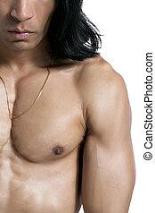 cropped muscular man - Cropped shot of a muscular Asian man...