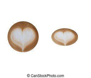 Cropped of top of coffee latte art isolated on white background include clipping path.