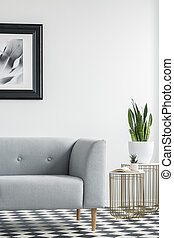 Cropped photo of a grey sofa next to golden tables with plants in a living room interior. Real photo. Place your poster