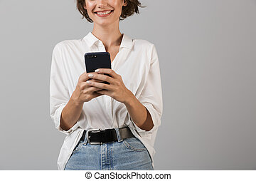 Cropped photo of cheerful young business woman