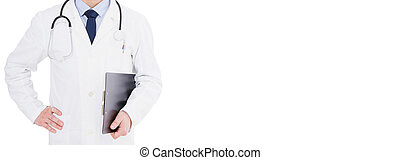 cropped portrait doctor posing with stethoscope over white background isolated