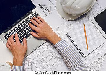 architect working on laptop