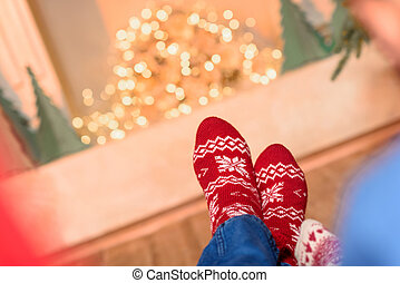 couple in knitted socks