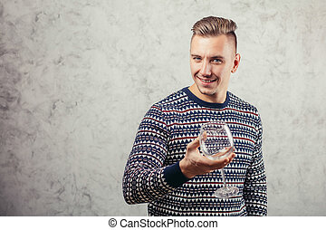 man holding empty wine glass - Cropped view of man holding...