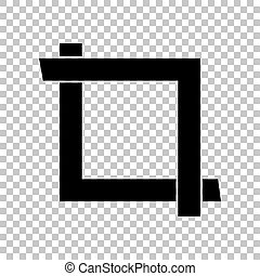 Cropping with corners. Image editor sign. Black icon on transparent background. Illustration.