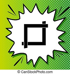 Cropping with corners. Image editor sign. Black Icon on white popart Splash at green background with white spots. Illustration.