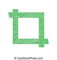 Cropping with corners. Image editor sign. Green scribble Icon with solid contour on white background. Illustration.