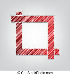 Cropping with corners. Image editor sign. Red gradient scribble Icon with artistic contour gray String on light gray Background. Illustration.
