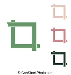 Cropping with corners. Image editor sign. Russian green icon with small jungle green, puce and desert sand ones on white background. Illustration.