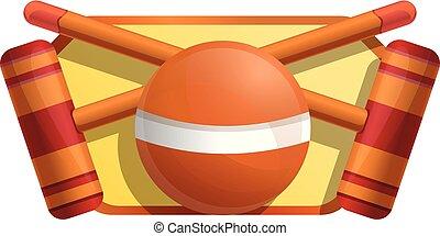 croquet, apparecchiatura, icona, stile, cartone animato