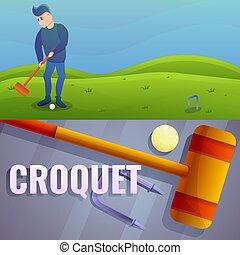 Croquet banner set, cartoon style