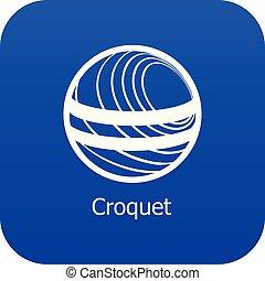 croquet, blu, vettore, icona