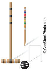 croquet, equipamento, vetorial