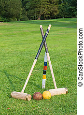 Croquet equipment set up ready for use.