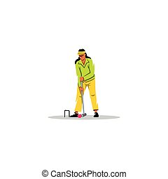 Croquet Game sign. Vector Illustration.