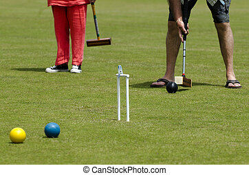 Croquet Game - Croquet player plays Croquet in a club....