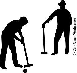 croquet, giocatore, due