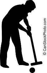 croquet, giocatore, silhouette