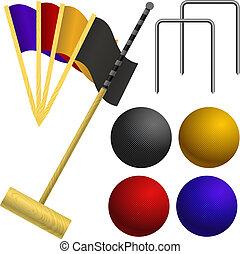 croquet, gioco, set, oggetti