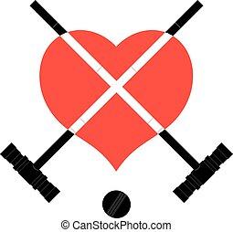 croquet, heart., cuore nero, immagine, martelli, palla, martelli, segno, fondo.
