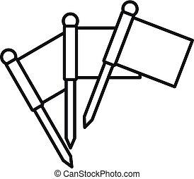 croquet, icona, stile, bandiere, contorno