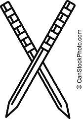 croquet, icona, stile, bastone, contorno