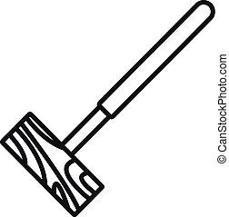 croquet, icona, stile, contorno, maglio