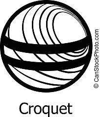 croquet, icona, stile, nero, semplice
