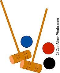 croquet, illustrazione, fondo., vettore, palle, bianco